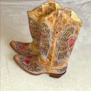Corral Leather Boots Heart and Wings - 8.5